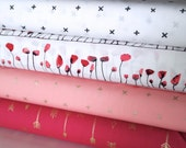 Half Yard Bundle, Wonderland Collection, Art Gallery, Quilting Cotton, 4 Fat Quarters, Stash Builder, Gift for a Quilter, Valentine's Day