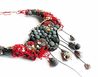 She was thunderstorm - statement mixed media collage, contemporary, hand embroidered, fabric, hand dyed, organic necklace