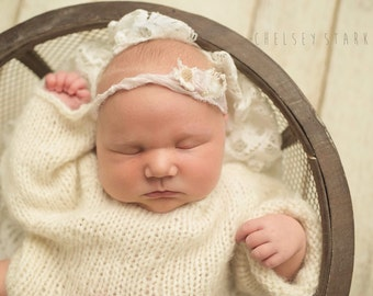 Alpaca long sleeve romper- Newborn Size- Photography Prop- cream