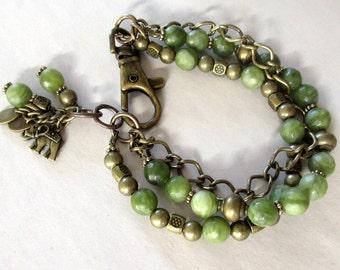 Green Triple Strand Bracelet, Green Jasper Beads Oxidized Brass Multistrand Bracelet, FREE US SHIPPING, Boho Bracelet