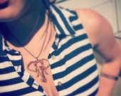 Large Wood Elephant Head Outline Chain Necklace