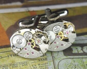 Steampunk Cufflinks Cuff Links - Torch SOLDERED - Vintage Silver Oval Watch Movements w Cool Bridge Design - Birthday Anniversary Gift