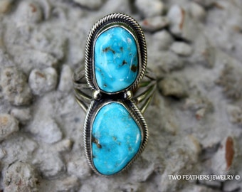 Native Amercian Turquoise Ring - Navajo Ring - Vintage Ring - Chunky Turquoise - Solid Sterling Silver - Signed Ring - December Birthstone