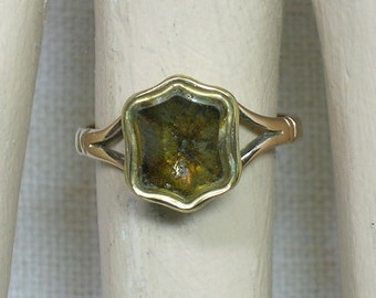 Antique Seal Signet Ring, Georgian & Victorian, Topaz and 9ct Yellow Gold. Size 5 1/4