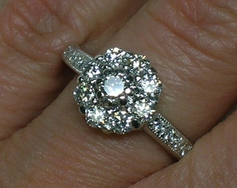 Platinum Diamond Ring: Daisy Cluster, Halo. Anniversary, Engagement, Bling!