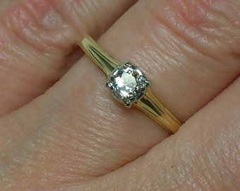 1940s Engagement Ring: Jabel Euro Cut Diamond Solitaire. Engraved, Minimalist