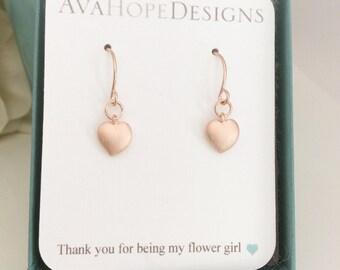 Flower girl earrings Heart Earrings Rose Gold Earrings Tiny heart earrings Rose Gold Jewelry gifts for teens best friend gifts mom rose gold
