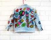 80's GRAFFITI BOMBER JACKET vintage denim sequins peace love hearts stars nyc S
