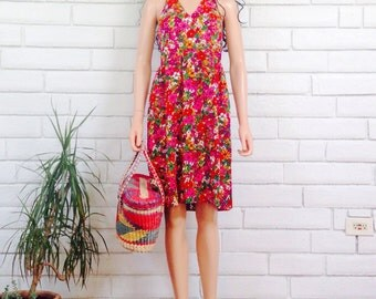 70's DAISY HALTER DRESS vintage floral neon babydoll empire bright flower child minidress s/m