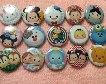 15 Tsum Inspired Character Pinback Button Shower Goody Gift Treat  Party Favors Brooches