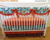 SALE--VALENTINES SALE---- Bumperless Crib Bedding- Baby Bedding- Made to Order-Bird Girl Baby Bedding