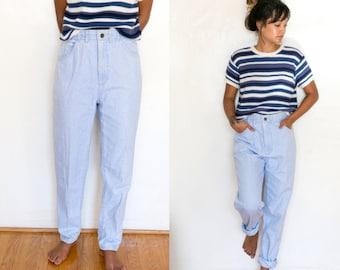 Mom Jeans Denim Boyfriend High Waist Jeans / Light Wash High Waisted Jeans / 80s Denim Tapered Elastic Baggy 90s Hipster Light Blue Jean