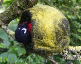 Needlefelted Ladybird in her Home