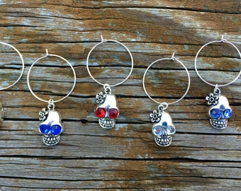 Skull wine glass charms for the wine lover in your life....