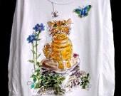 Garden Cat Long-sleeve t-shirt handpainted for kids
