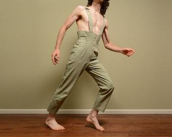 vintage 90s overalls suspender pants playsuit romper Jr. Things high waist taper leg 1990 medium M drab army green