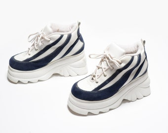 mens womens sneakers vintage 90s chunky platform shoes blue white zebra stripe suede leather raver lift Charles Albert rave club kid size 10