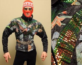 vintage Bogner ski jacket 80s 1980s Bogner ski suit sequins snakeskin scales iridescent West Germany small S medium M