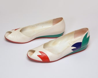 vintage 80s 90s Bruno Magli Club shoes white flats open toe wedge flat low heel new wave 1980 1990 white leather 9 9AAA avant garde