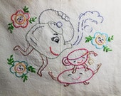 Vintage Anthropomorphic Tea Kettle and Tea Cup Hand Embroidered Kitchen Towel, flour sack dish towel