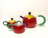 Vintage Cook Vessel Japan Cookvessel Aluminum Metal Coffee Tea Pot Post Modern Memphis Group cream sugar bowl, 1989
