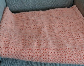Large Peach Crocheted Baby Blanket in Shell Stitch