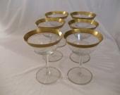 Stunning  Tiffin-Franciscan Rambler Rose Gold Trim 6 Champagne/Coctail Martini Crystal Glassware,Stemware