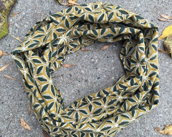 Mustard field block print infinity Scarf -Hand block printed, Natural Vegetable Dyes, 100% Cotton Loop Scarf, Infinity Cowl