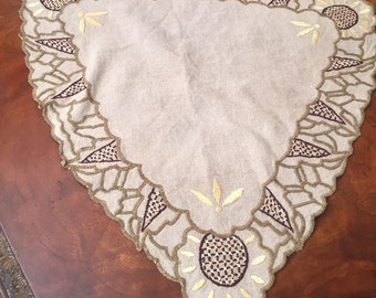 Antique Arts & Crafts Mission Hand Embroidered Textile Linen Triangle Accent Piece