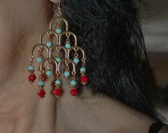 Turquoise earrings, chandelier earrings, gold earrings, dangle earring, chick earrings, chick turquoise earrings, beaded earrings