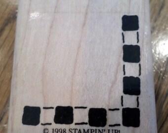 1998 Stampin Up Checkered Border Corner Wooden Rubber Stamp
