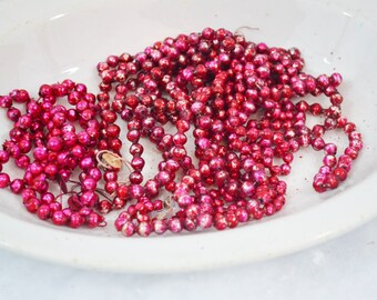 Vintage Bright Pink Glass Bead Garland Mixed Lot Broken Strands Fuschia Magenta Crafts Repurpose Christmas Decoration 1950's