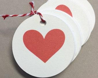 Mini 1 inch Heart Circle Tags ~ set of 36 ~