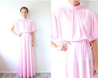 20% OFF BIRTHDAY SALE Vintage Boho // pink floral maxi 70s dress // sleeved modest formal dress // goddess prom dress // floral maxi dress /