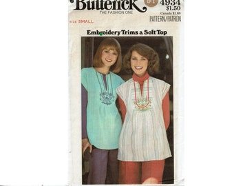 Butterick Sewing pattern 4934 Size Small 8-10 Bust 31 1/2-32 1/2 1970s uncut loose fit smock top tunic with embroidery transfer