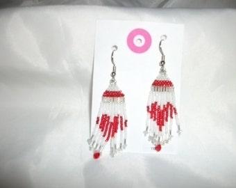 Red N White n Silver Earrings