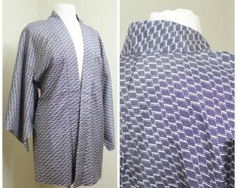 Japanese Haori Jacket. Vintage Coat Worn Over Kimono. Purple White Abstract (Ref: 1148)