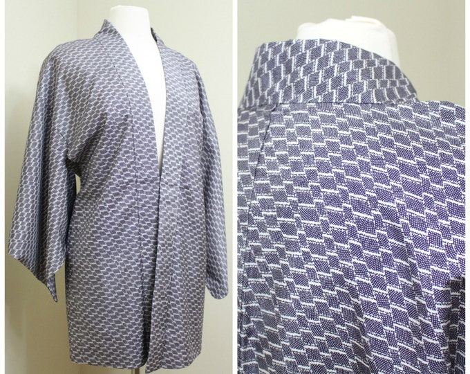 Japanese Haori Jacket. Vintage Coat Worn Over Kimono. Purple White Abstract (Ref: 1148)