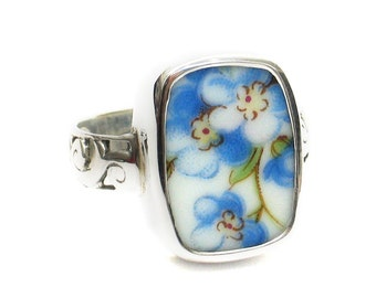Size 8 Broken China Jewelry Blue Forget Me Not Flowers AI Sterling Ring