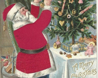 Vintage Christmas Postcard ~ Santa with Red Flocked Coat