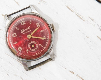 Very Rare Old Vintage Russian START Wrist Watch with dark RED Dial 17 Jewels