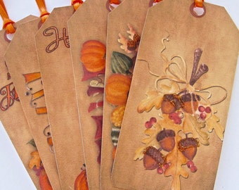Fall Harvest Thanksgiving Tags, Wedding tags, gift tags lot of 6