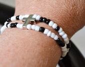 SEEDBEAD CROSS Double Strand Stretch Bracelet with Silver Metal Cross
