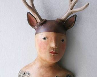Deer Girl ceramic wall sculpture