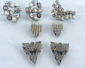MOVING SALE Half Off Lot of Vintage Salvaged Clear Rhinestone Art Deco Silver Metal Jewelry Pieces