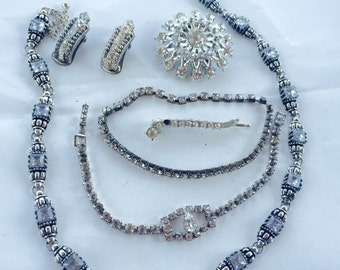 MOVING SALE Half Off Lot of Vintage Salvaged Clear Rhinestone Silver Metal Jewelry Pieces