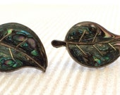Vintage 925 Sterling iridescent stone screw-back earrings 1960s made in Mexico