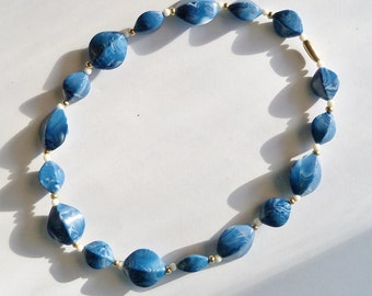 Lucite Bead Necklace Choker Wedgwood Blue White Vintage Jewelry Jewellery Accessories Casual Wear Gift Guide Women