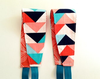 Headband for Women, Teens, or Girls. Reversible. Modern Blue and Coral Geometric. Retro Mod Style.