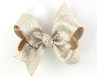 "Light Gold Bow - 3"" gold hair bow - gold hair clip - baby gold bow - girl hair bows - toddler girl hairbow - girl bow - 3 inch bows metallic"